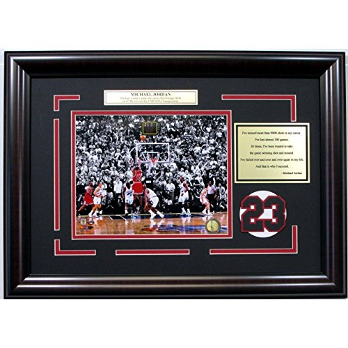 1998 Nba Finals Framed (Michael Jordan 1998 NBA Finals Winning Shot 8x10 Framed Photo Collage Nameplate Plaque Quote Bulls 17x23)