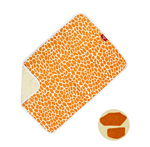 PVC Free Duckery Kid Waterproof Baby Diaper Changing Pocket Pad in Vibrant Color for Home and Travel (Giraffe Print) ()