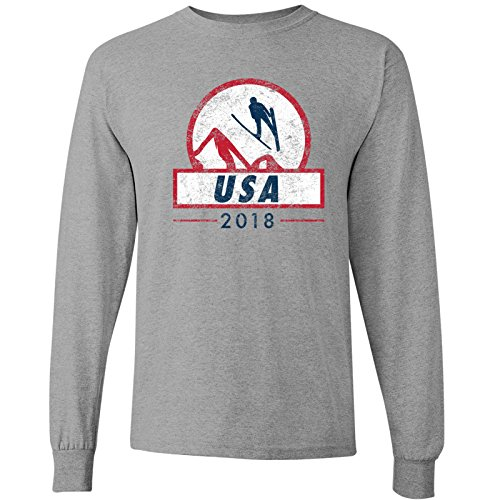 (USA Ski Jumping 2018 Winter Sports Games Long Sleeve T Shirt - Large - Sport)