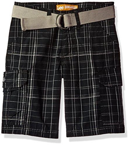 LEE Little Boys' Dungarees Quest Cargo Short, Black Kenwood Plaid, 5 Regular