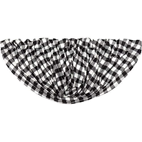 VHC Brands Farmhouse Kitchen Curtains Annie Rod Pocket Cotton Buffalo Check Balloon Valance Black Country