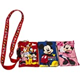 1 X Disney Set of 3 Mickey and Friends Lanyards with Detachable Coin Purse by Unknown