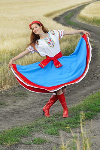 Ukraine folk dress dance costume Ukrainian traditional wear blue circle skirt white blouse Vyshyvanka]()