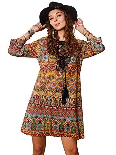 Women Bohemian Style Geometric Pattern 3/4 Sleeve Vintage Dress - 6
