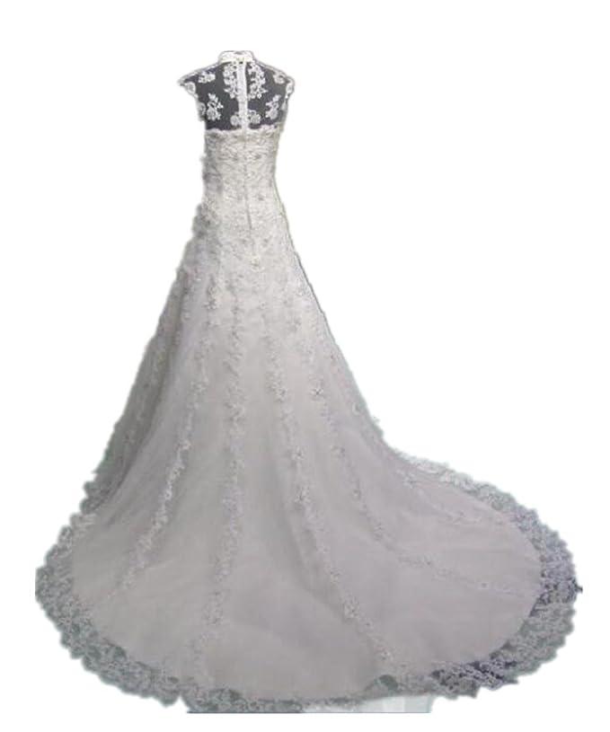 Zorabridal Women S Vintage High Neck A Line Beaded Lace Wedding