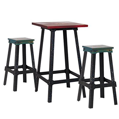 Homebeez square industrial bistro dining table metal for Square industrial dining table