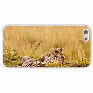 Customized Apple iPhone 5 5S PC Hard Case Diy Personalized DesignCover Leopards summer White