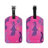 ZOEO PU Leather Luggage Tags Mermaid Cute Pink