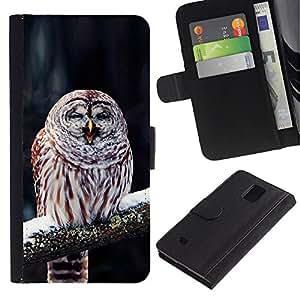 EuroCase - Samsung Galaxy Note 4 SM-N910 - Cute Funny Winter Sleepy Owl - Cuero PU Delgado caso cubierta Shell Armor Funda Case Cover