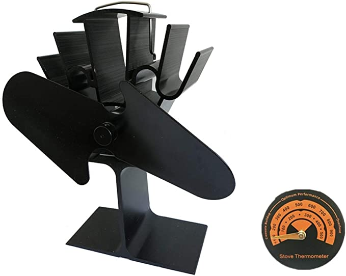 Ventilador De Estufa Ecológico De 2 Palas Con Alimentación Ecológica Para Leña/Chimenea De Leña Chimenea Que Circula Aire Caliente Con 140CFM (negro): Amazon.es ...