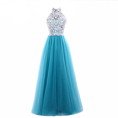 Women Love Princess Scoop Neck A-line Lace Tulle Evening Prom Dress Bridesmaid Dresses Gown
