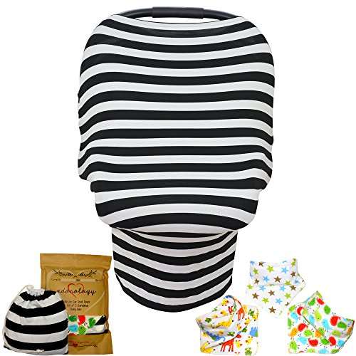 Baby Car Seat & Nursing Cover BONUS Bandana Drool Bibs & Drawstring Carry Bag Shower Gift Breathable Stretchy Universal 4 in 1 Multi-Use Infant Carseat Canopy Covers Shopping Cart High Chair Stroller Giraffe Car Seat Cover
