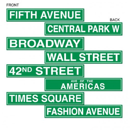 Beistle 50094 4-Pack NYC Street Sign Cutouts, 4-Inch by