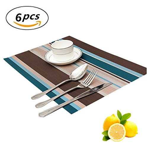 Blue Insulation (Washable Placemats Set of 6 Dining Table Heat Insulation Stain Resistant Woven Non-slip Kitchen Table Mats Placemat (blue))