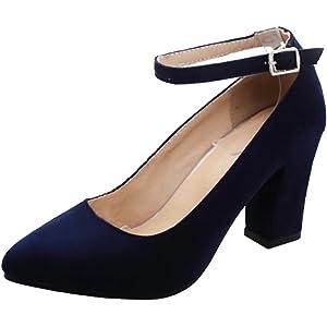 newest c79ac 29543 AIYOUMEI Damen Blockabsatz High Heels Pumps mit Knöchelriemchen Elegant  High Shoes