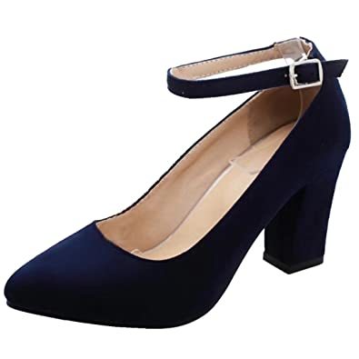b409b6e6ae8e60 AIYOUMEI Damen Blockabsatz High Heels Pumps mit Knöchelriemchen Elegant  High Shoes  Amazon.de  Schuhe   Handtaschen