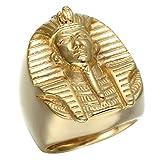 Eamaott Egyptian Pharaoh Gold Stainless Steel Personalized Biker Ring Men's Charm Ring-10