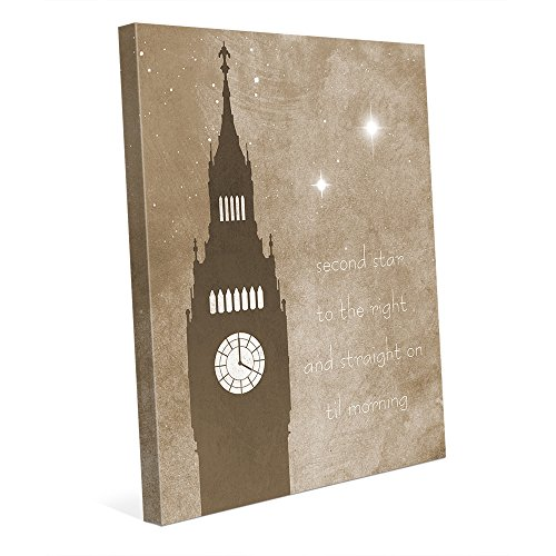 Straight on til Morning: Graphic of Starry Nightime Sky, Great Bell Clock Tower Big Ben at the Palace of Westminster in London Wall Art Print on Canvas