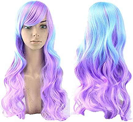 70cm Long Women Hair Ombre Color High Temperature Fiber Wigs Pink Blue Synthetic Hair Cosplay Wig Peruca Pelucas,NC/4HL,28inches