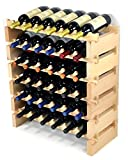 Modular Wine Rack Pine Wood 24-72 Bottle Capacity Storage 6 Bottles Across up to 12 Rows Stackable Newest Improved Model (36 Bottles - 6 Rows)