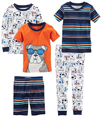 Dog Pajamas Carters - Carter's Boys' 5-Piece Cotton Snug-Fit Pajamas, Dog Glasses, 18 Months