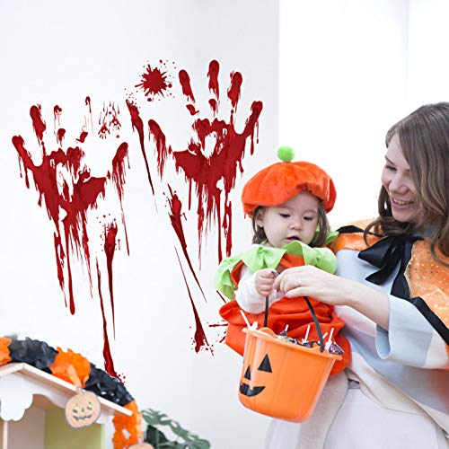 YuBoBo 60 PCS Halloween Decoration Removable Horror Bloody Handprints Footprints Decals Stickers, Halloween Vampire Zombie Party Décor Supplies by YuBoBo (Image #4)