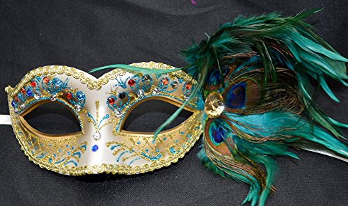 Teal Sky Blue Gems Glitter Peacock Masquerade Mask Party Mask Women's Mask ()