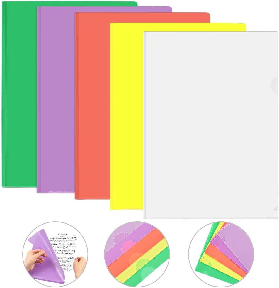 GOLRISEN Carpetas de Plástico 25 unids Carpetas Transparentes y de Cololes A4 Carpetas para Archivo 5 Colores Diferentes Carpeta para Documentos, para Archivar Documentos, Material de Clase, Fichas