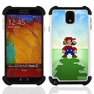 """SAMSUNG Galaxy Note 3 III / N9000 / N9005 - 3 en 1 impreso colorido de Altas Prestaciones PC Funda chaqueta Negro cubierta gel silicona suave (Pixel Mario"""")"""