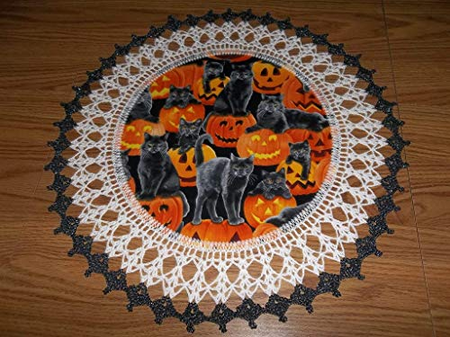 Halloween Doily Black Cats and Pumpkins Lace Table Topper Round Handmade Table Decoration Crochet 18 Inches Fall Centerpiece ()