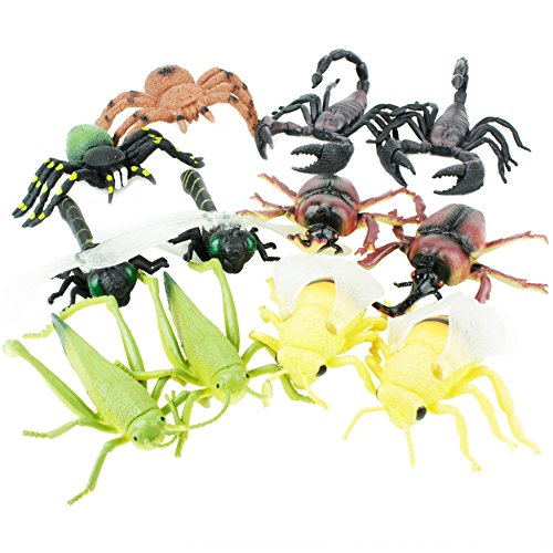 Boley 12 Pack Insects - Perfect for Imaginative Play, Pretend Activities, Party Favors - Realistic Beetles, Grasshoppers, Flies, and More! Great Stocking Stuffers!