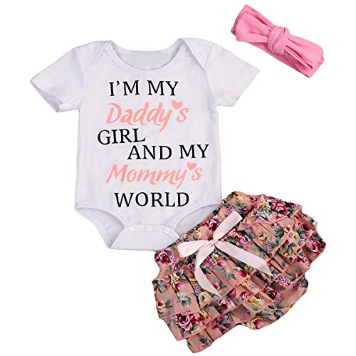 Newborn Baby Girls Clothes Letter Rompers Floral Ruffel Pants Shorts Headband 3PCS Outfits Set (0-6 Months, I'M My Daddy's Girl)