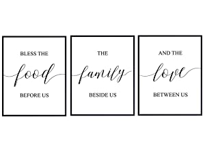 Bless The Food Typography - Unframed Wall Art Prints - Makes a Great Gift for Bars, Kitchens, Family Rooms and Home Decor - Ready to Frame (8x10) Photos