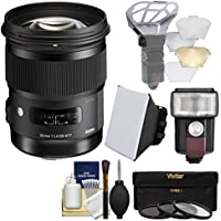 Sigma 50mm f/1.4 ART DG HSM Lens with 3 Filters + Flash + Soft Box + Diffuser + Kit for Canon EOS DSLR Cameras