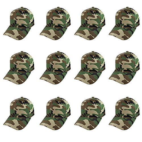 Plain Blank Baseball Caps Adjustable Back Strap Wholesale Lot 12 Pack- (Wholesale Camo Caps)