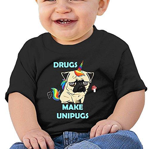 NYCOPI MICJP Boy' Girls' Drugs Make Unipugs Unicorn Pugs Clothes Summer Short-Sleeve Cotton T-Shirts 12 Months