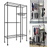 Closet Organizer Wardrobe with 6 Wheels Portable Clothes Storage Tier Rack with Detachable Hanging Rod and Side Hooks Utility Freestanding Durable Garment Shelf Easy Assemble [US Stock]