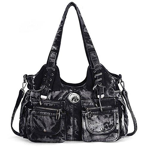 Packingworld sac à main sac de toile avec grande contenance scolaire college voyage pour adolescents adults shopping bag en jeans Noir
