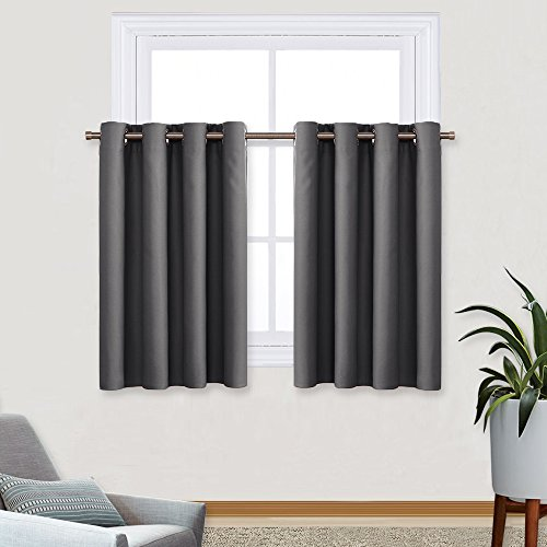 Grey Blackout Curtain Tier Panel - Eyelet Top Window Treatment Curtain Tier / Valance for Kitchen by PONY DANCE,52