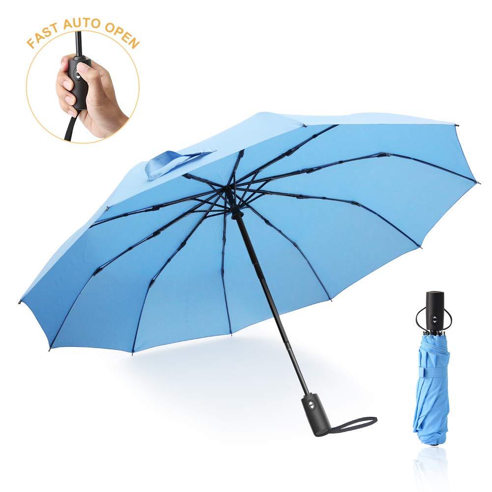 ANLAN Parapluie Pliant Automatique, Parapluie Homme Noir, Parapluie Peche, 10 Parapluies Renforcés Anti-Vent Parapluie de Voyage Automatique de Pluie pour Les Hommes et Les Femmes