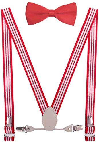 (YJDS Boys Leather Suspenders and Bowtie Set Elastic for Wedding Red Stripe 30'')