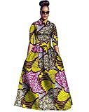 Ivay Womens African Maxi Dresses Dashiki Print Skirt Fit and Flare Dress 2 Piece with Pockets