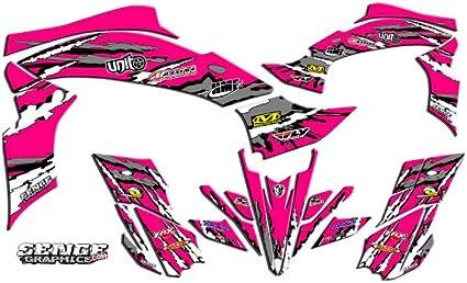 Senge Graphics Kit compatible with Yamaha 2009-2013 YFZ 450 Shredder Black Graphics Kit with art filled number plates Steel Frame