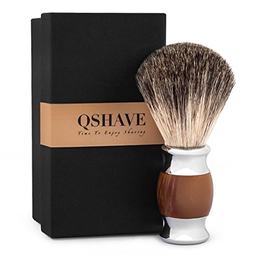 QSHAVE 100% Best Original Pure Badger Hair Shaving Brush Handmade. Faux Agate Handle. Perfect for Wet Shave, Safety Razor, Double Edge Razor