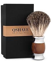 Qshave Scheerkwast, hoogwaardige borstelharen van 100% dassenhaar, handvat van kunsthars voor nat scheren met veiligheidsscheermes.