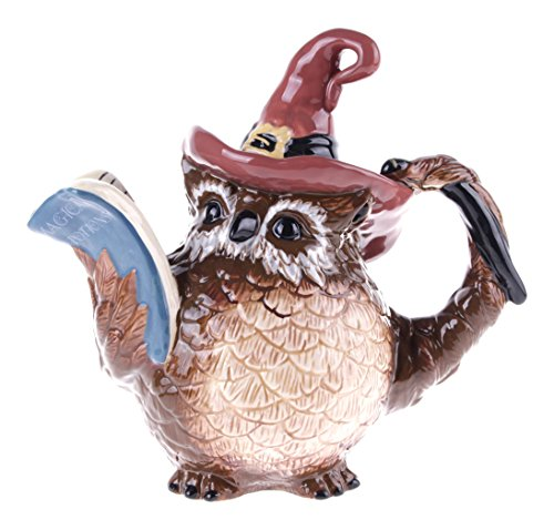 Blue Sky Ceramic Halloween Witch Owl Teapot, 10