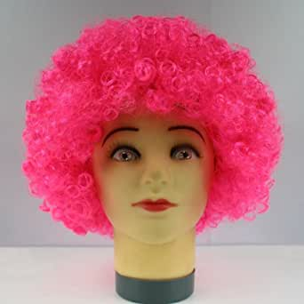 HOT Fashion Glamour Natural Fluffy Wig Hair Curl Wigs Afro Wig Synthetic Fiber Hairpiece Party Disco Clown Hair Football Fan Adult Child Costume Wig (Pink)