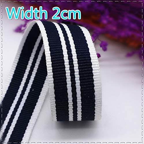 Jammas New 20MM Deep Blue and White Polyester Stripe Embellished Webbing Sewing Material for Garment Accessories DIY Decoration 1meter - (Color: Deep Blue and White)