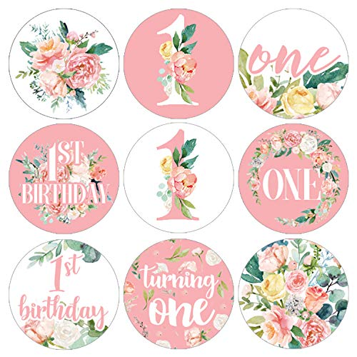 Pink Floral 1st Birthday Party Favor Labels | 198 Stickers -