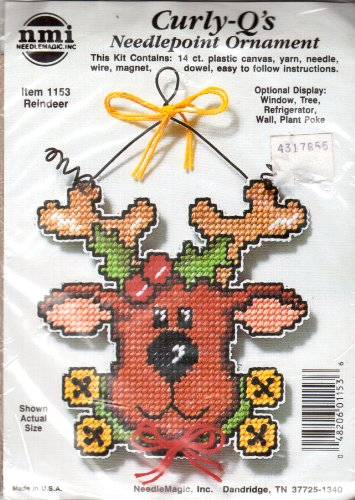 Curly Qs Needlepoint Ornament  Reindeer